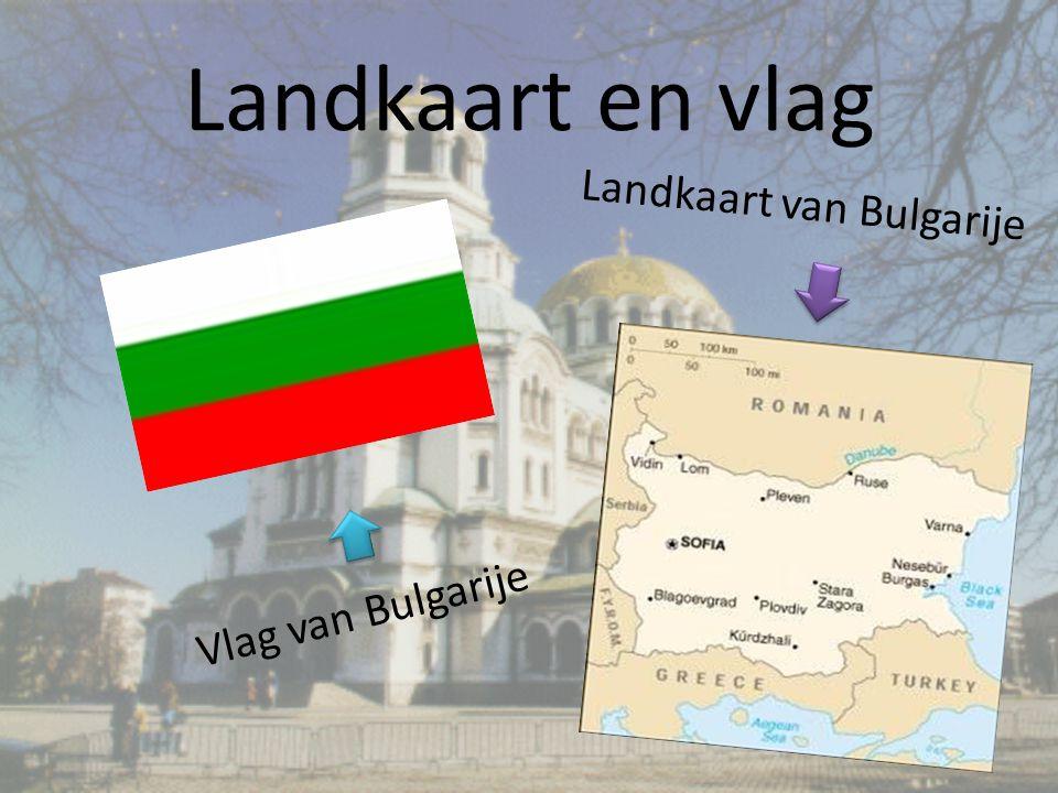 Landkaart en vlag Vlag van Bulgarije Landkaart van Bulgarije