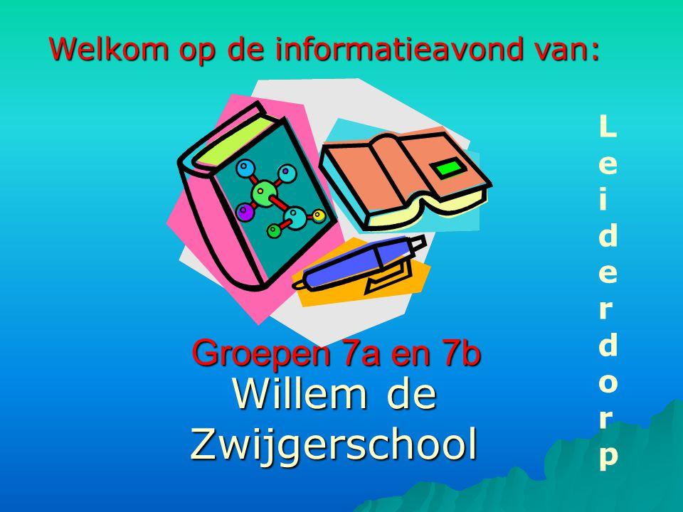 Groepen 7a en 7b Willem de Zwijgerschool LeiderdorpLeiderdorp Welkom op de informatieavond van: