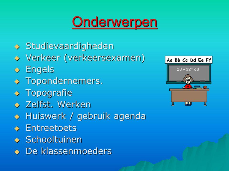 Onderwerpen  Studievaardigheden  Verkeer (verkeersexamen)  Engels  Topondernemers.  Topografie  Zelfst. Werken  Huiswerk / gebruik agenda  Ent