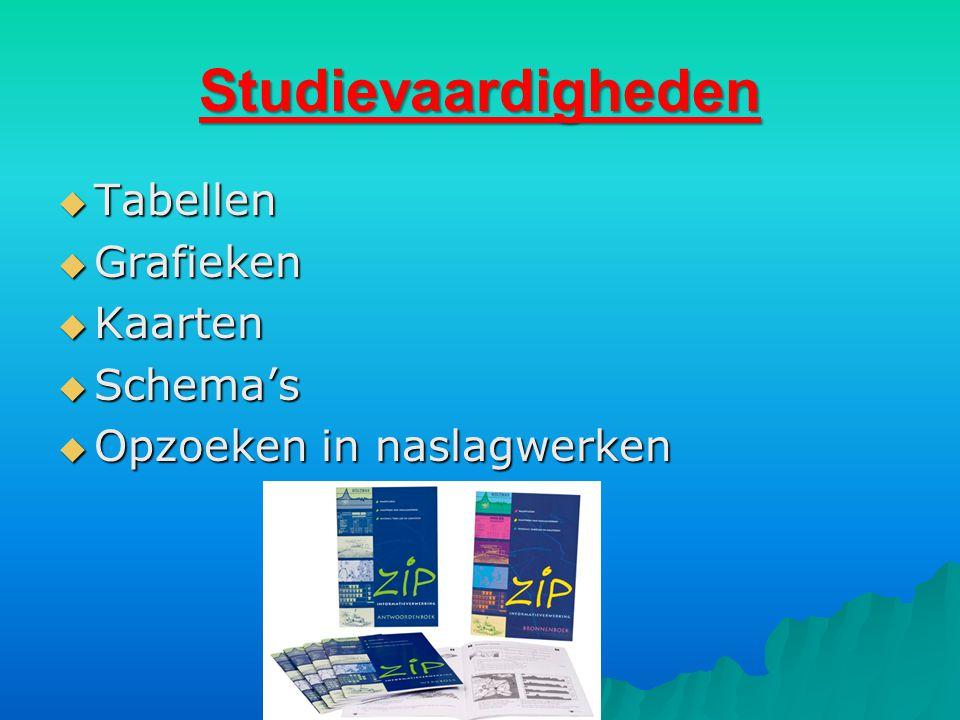 Studievaardigheden  Tabellen  Grafieken  Kaarten  Schema's  Opzoeken in naslagwerken