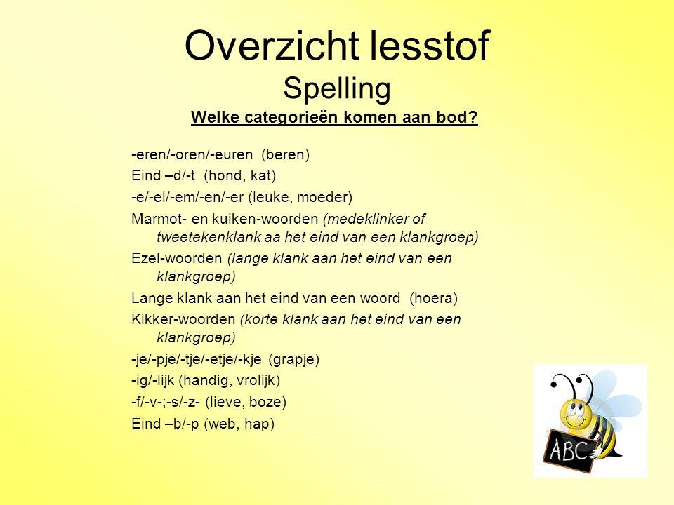 Overzicht lesstof Spelling Welke categorieën komen aan bod? -eren/-oren/-euren (beren) Eind –d/-t (hond, kat) -e/-el/-em/-en/-er (leuke, moeder) Marmo