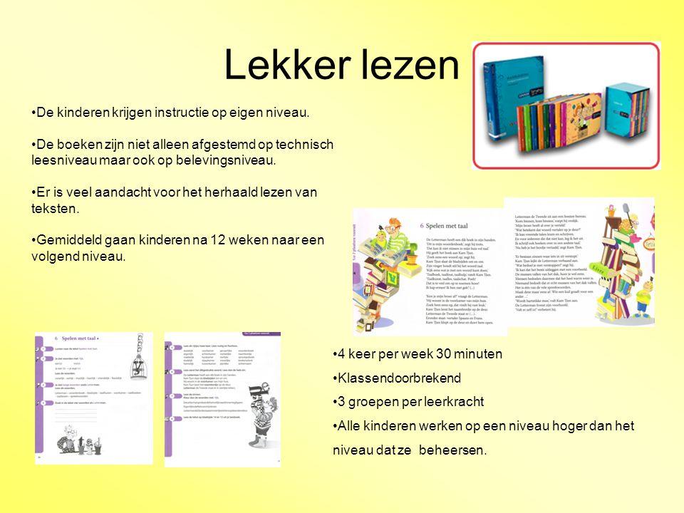 Lekker lezen De kinderen krijgen instructie op eigen niveau. De boeken zijn niet alleen afgestemd op technisch leesniveau maar ook op belevingsniveau.