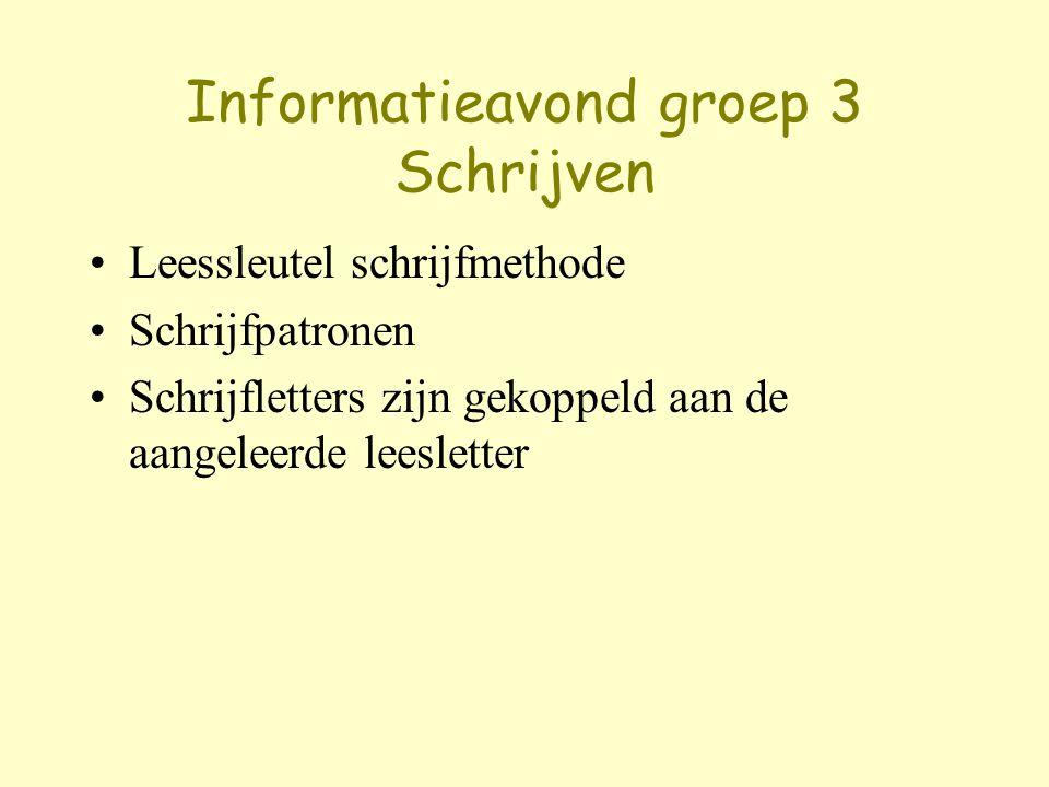 Informatieavond groep 3 Schrijven Leessleutel schrijfmethode Schrijfpatronen Schrijfletters zijn gekoppeld aan de aangeleerde leesletter
