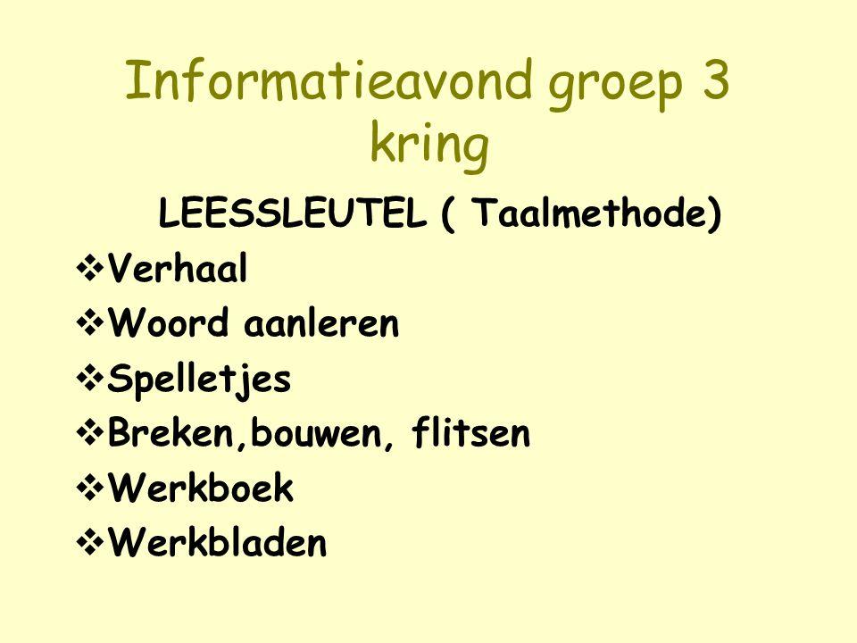 Informatieavond groep 3 kring LEESSLEUTEL ( Taalmethode)  Verhaal  Woord aanleren  Spelletjes  Breken,bouwen, flitsen  Werkboek  Werkbladen
