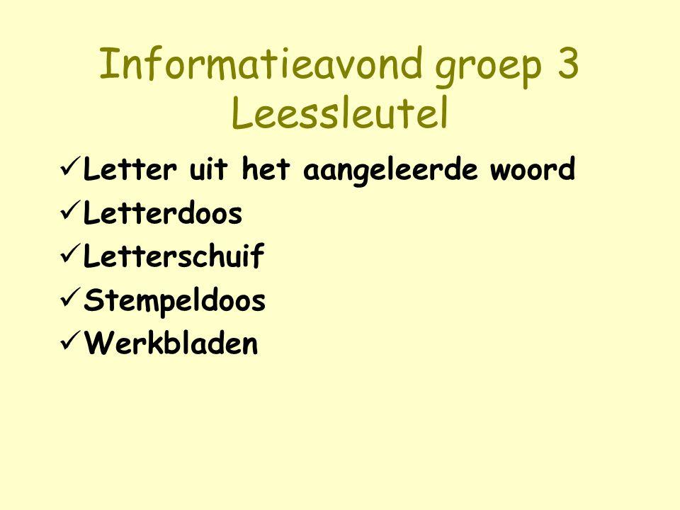 Informatieavond groep 3 Leessleutel Letter uit het aangeleerde woord Letterdoos Letterschuif Stempeldoos Werkbladen