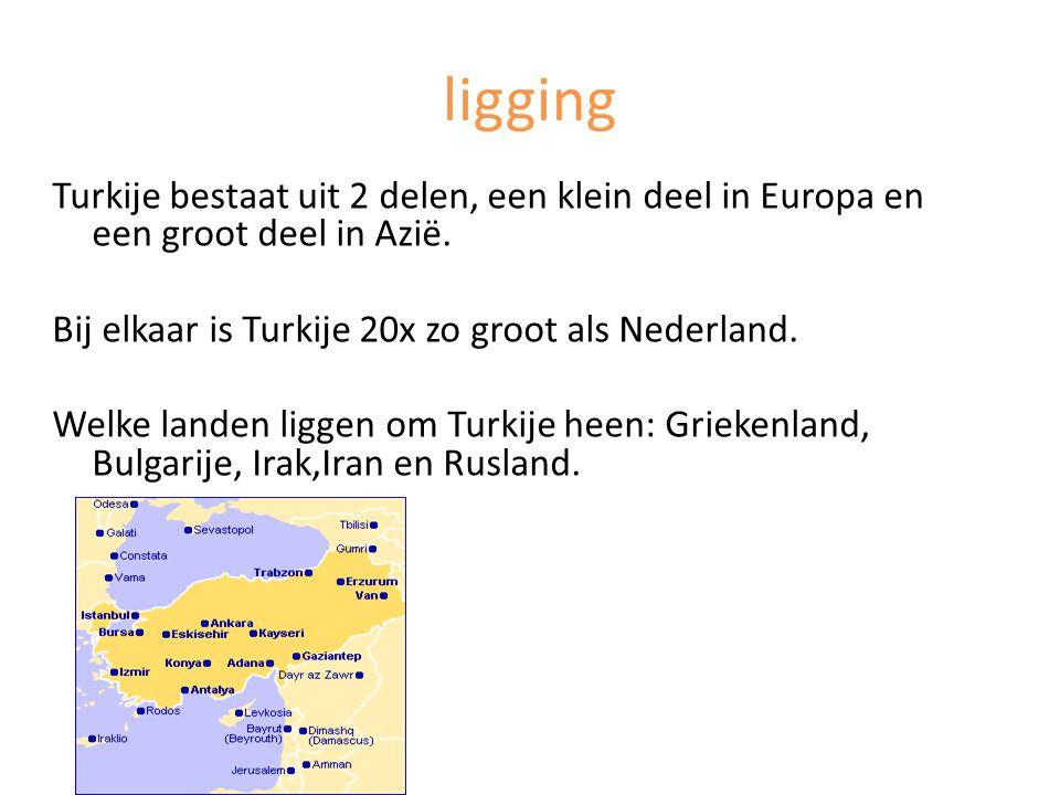 ligging Turkije bestaat uit 2 delen, een klein deel in Europa en een groot deel in Azië. Bij elkaar is Turkije 20x zo groot als Nederland. Welke lande