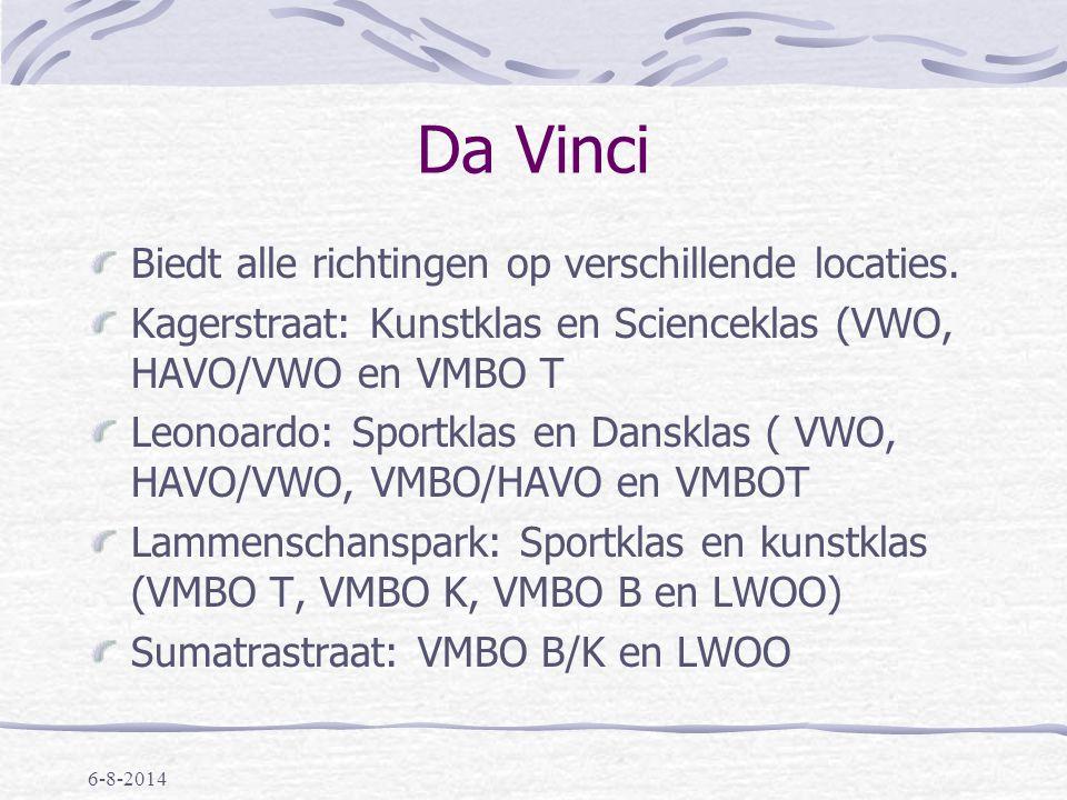 6-8-2014 Bonaventura Biedt alle richtingen, op verschillende locaties: Burggravenlaan (vmbo-t, havo, vwo- gym) Boerhaavelaan (vmbo, plusklas, lwoo) Mariënpoelstraat (gymnasium, atheneum en havo)