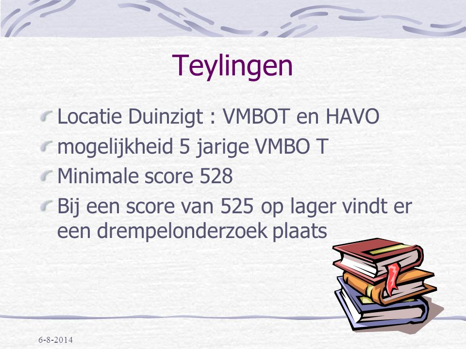 6-8-2014 Rijnlands Lyceum Oegstgeest Strengere toelating English stream, TTO Alleen Havo/Vwo