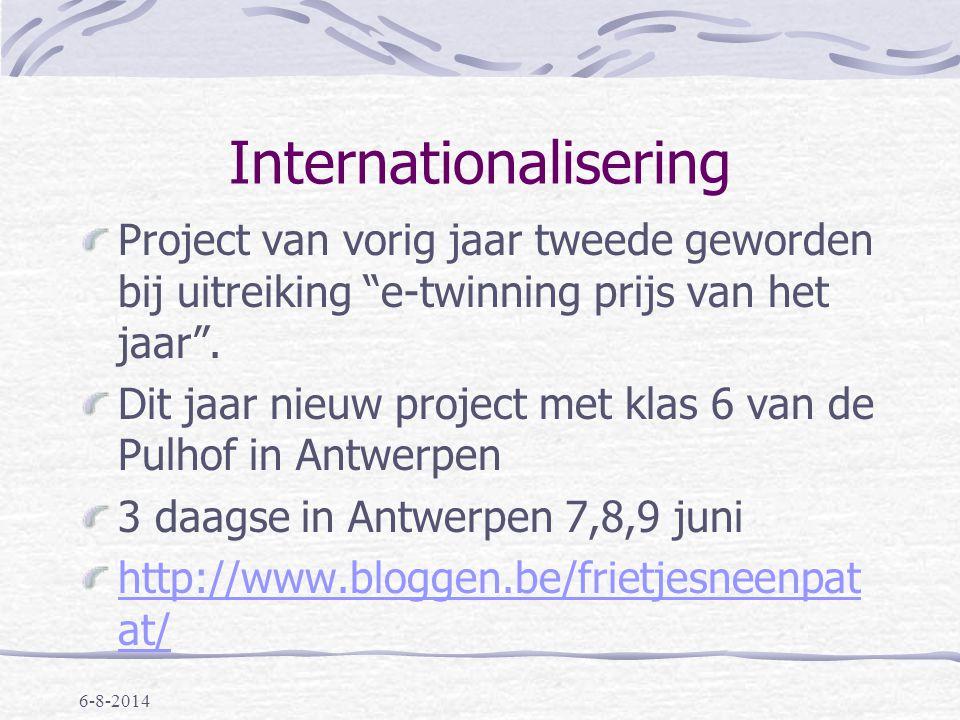 Internationalisering Project van vorig jaar tweede geworden bij uitreiking e-twinning prijs van het jaar .