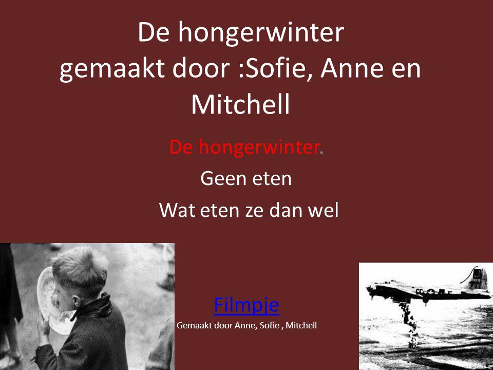 De hongerwinter gemaakt door :Sofie, Anne en Mitchell De hongerwinter.