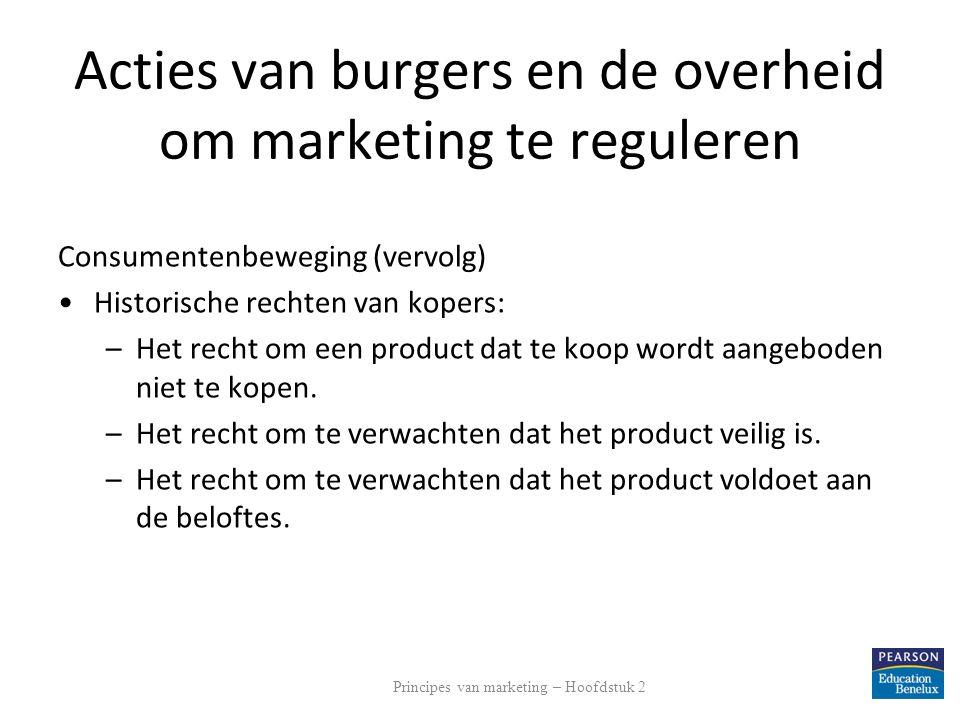 Acties van burgers en de overheid om marketing te reguleren Consumentenbeweging (vervolg) Historische rechten van kopers: –Het recht om een product da