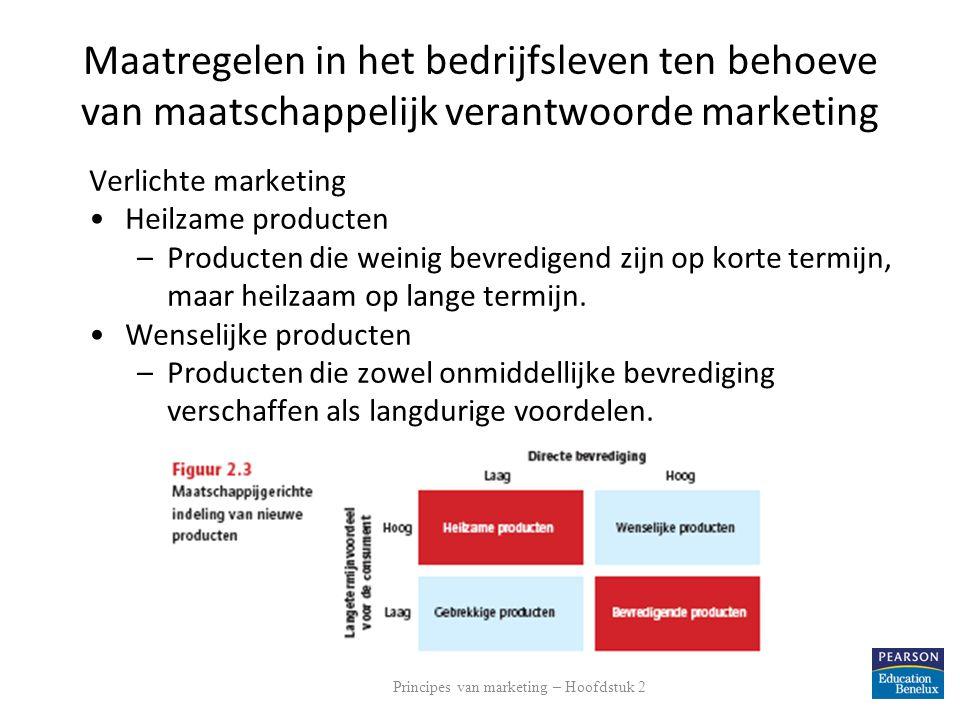 Maatregelen in het bedrijfsleven ten behoeve van maatschappelijk verantwoorde marketing Verlichte marketing Heilzame producten –Producten die weinig b