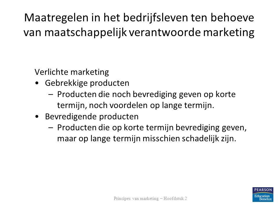 Maatregelen in het bedrijfsleven ten behoeve van maatschappelijk verantwoorde marketing Verlichte marketing Gebrekkige producten –Producten die noch b