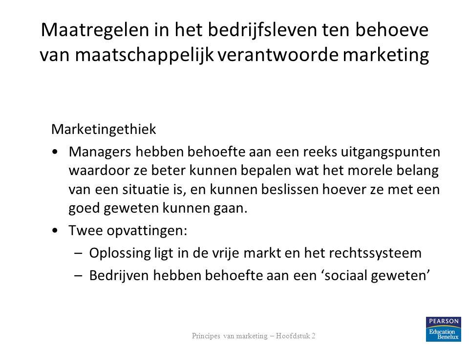 Maatregelen in het bedrijfsleven ten behoeve van maatschappelijk verantwoorde marketing Marketingethiek Managers hebben behoefte aan een reeks uitgang