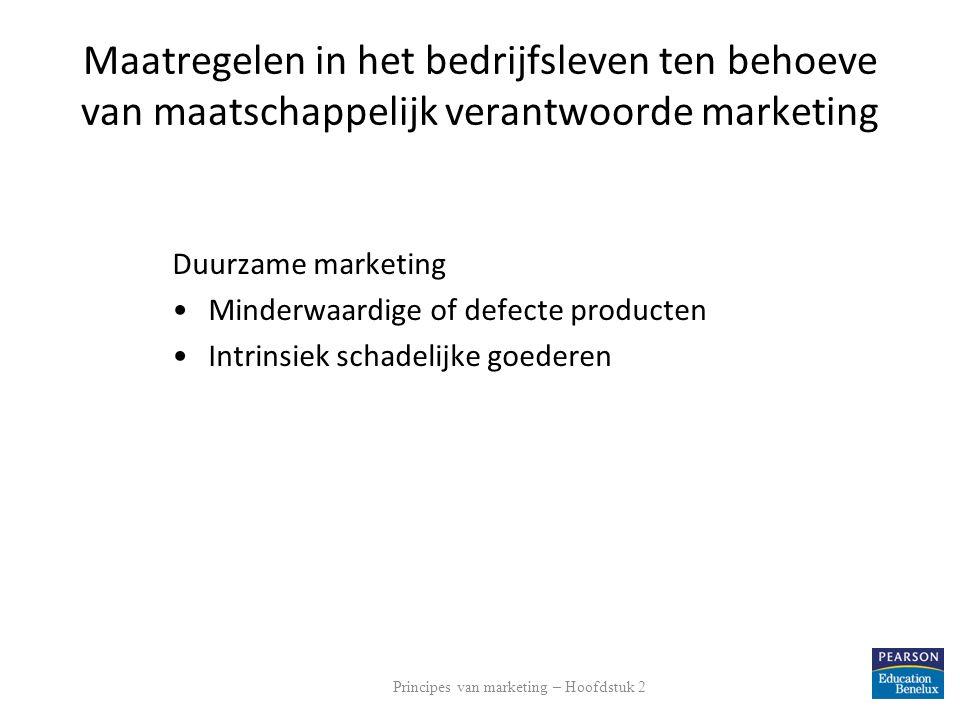 Maatregelen in het bedrijfsleven ten behoeve van maatschappelijk verantwoorde marketing Duurzame marketing Minderwaardige of defecte producten Intrins