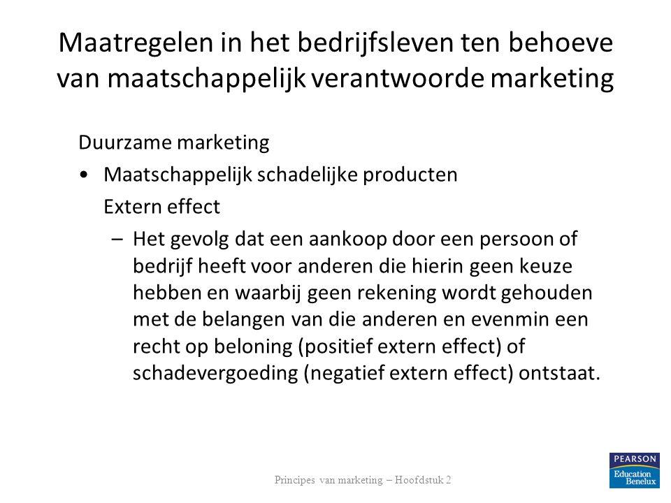 Maatregelen in het bedrijfsleven ten behoeve van maatschappelijk verantwoorde marketing Duurzame marketing Maatschappelijk schadelijke producten Exter