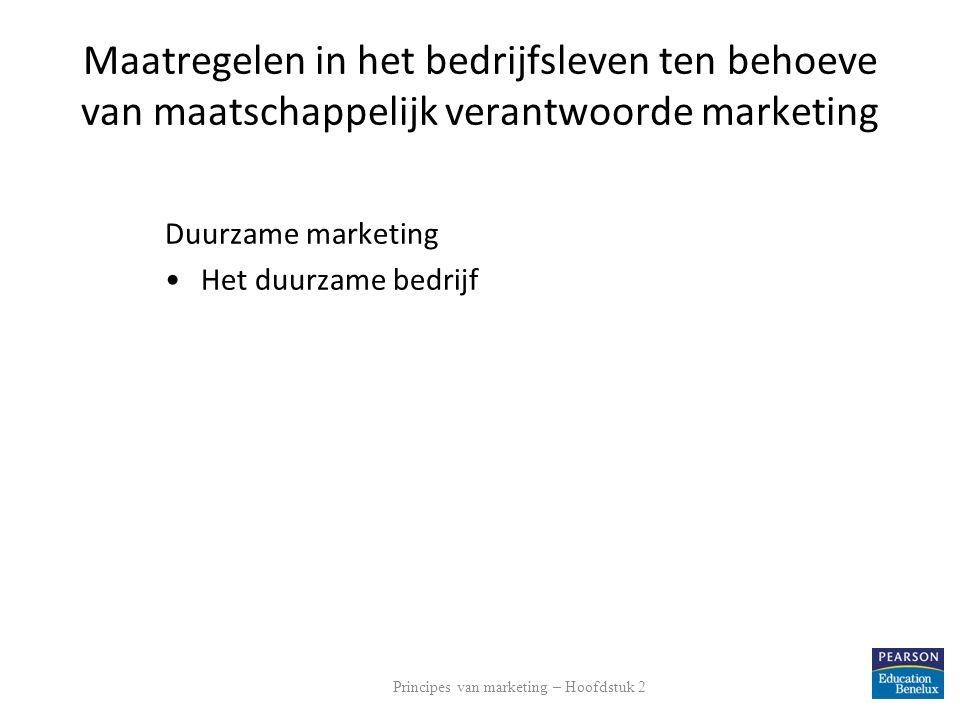 Maatregelen in het bedrijfsleven ten behoeve van maatschappelijk verantwoorde marketing Duurzame marketing Het duurzame bedrijf Principes van marketin