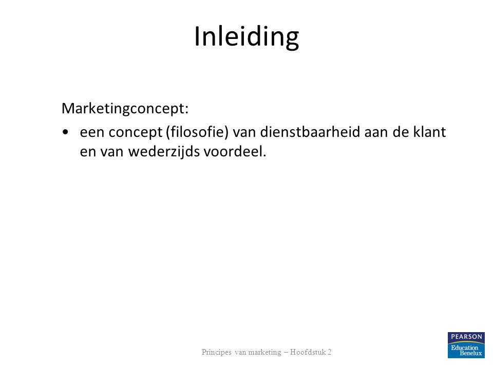 Inleiding Marketingconcept: een concept (filosofie) van dienstbaarheid aan de klant en van wederzijds voordeel. Principes van marketing – Hoofdstuk 2