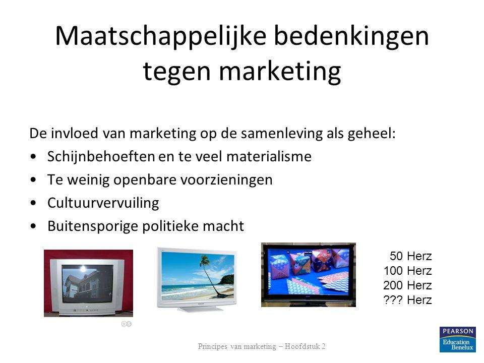 Maatschappelijke bedenkingen tegen marketing De invloed van marketing op de samenleving als geheel: Schijnbehoeften en te veel materialisme Te weinig