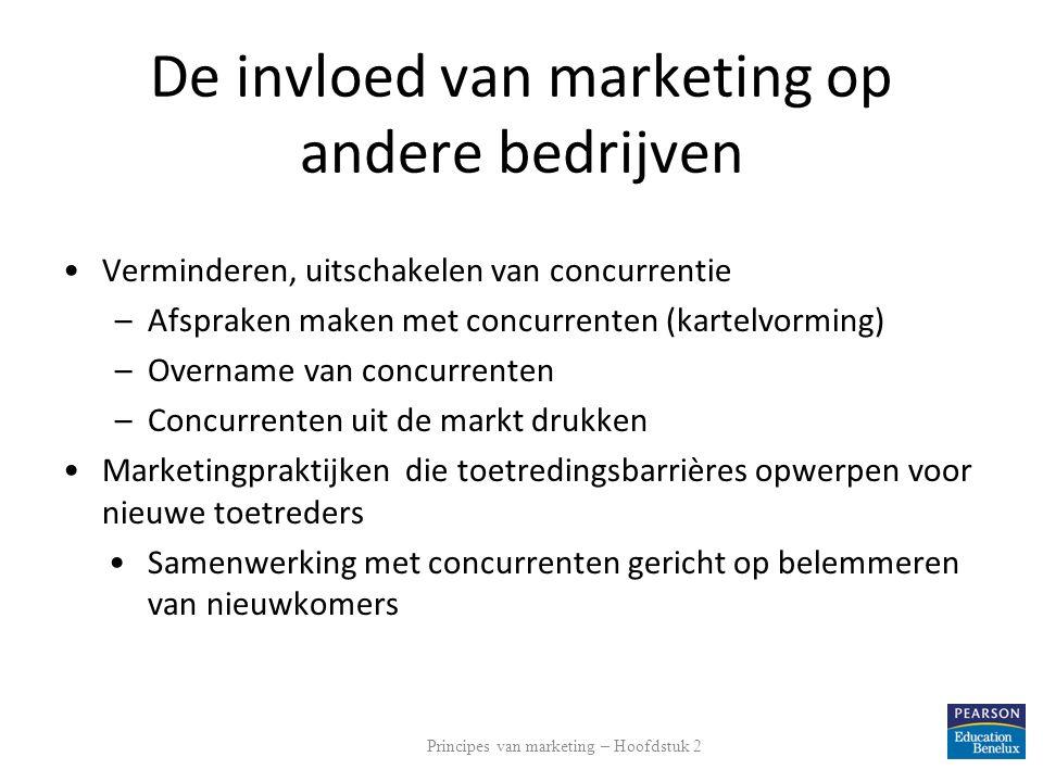 De invloed van marketing op andere bedrijven Verminderen, uitschakelen van concurrentie –Afspraken maken met concurrenten (kartelvorming) –Overname va