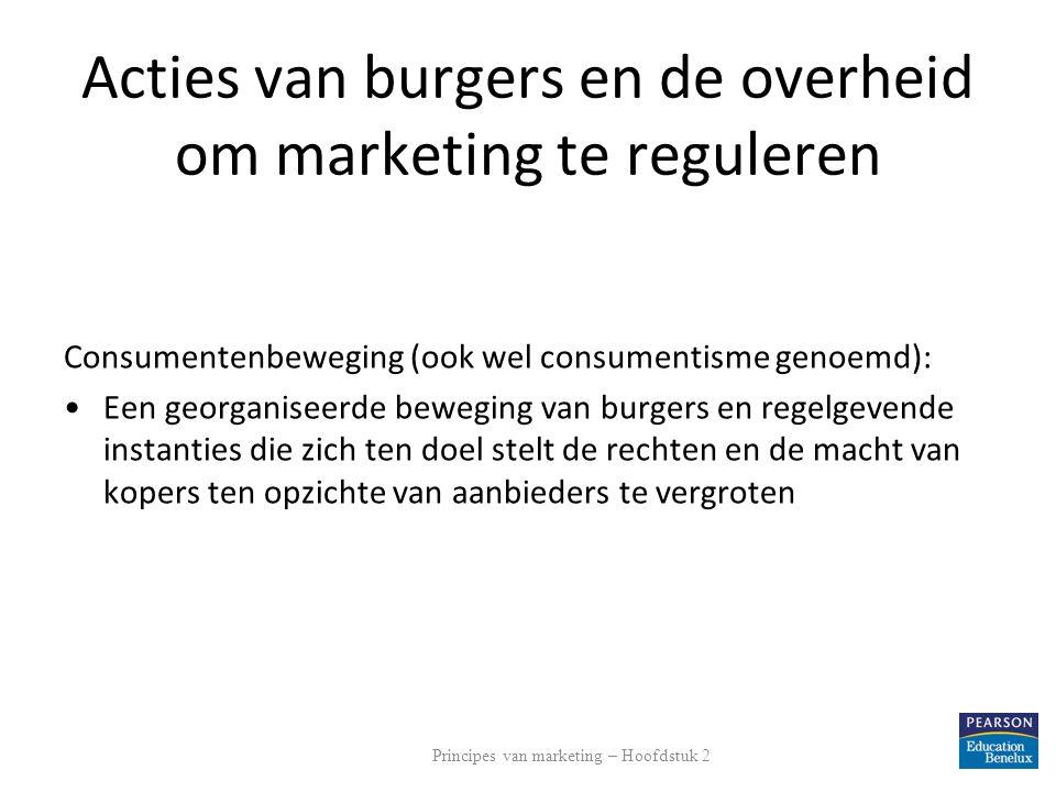 Acties van burgers en de overheid om marketing te reguleren Consumentenbeweging (ook wel consumentisme genoemd): Een georganiseerde beweging van burge