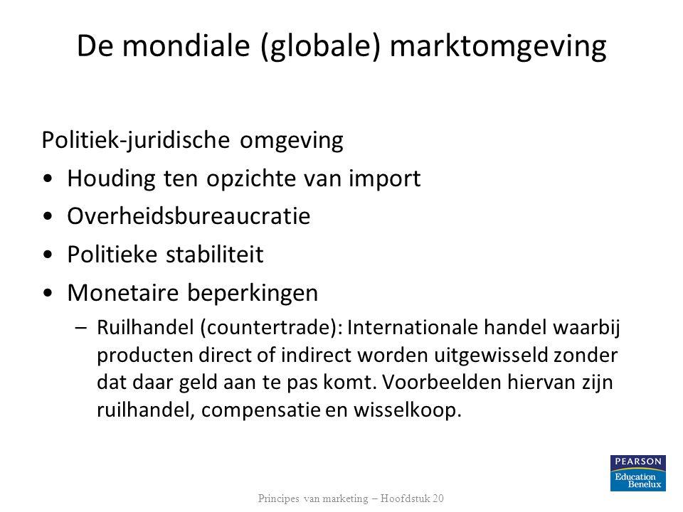 De mondiale (globale) marktomgeving Politiek-juridische omgeving Houding ten opzichte van import Overheidsbureaucratie Politieke stabiliteit Monetaire