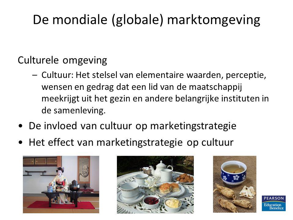 De mondiale (globale) marktomgeving Culturele omgeving –Cultuur: Het stelsel van elementaire waarden, perceptie, wensen en gedrag dat een lid van de m