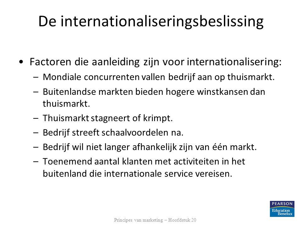 De internationaliseringsbeslissing Factoren die aanleiding zijn voor internationalisering: –Mondiale concurrenten vallen bedrijf aan op thuismarkt. –B