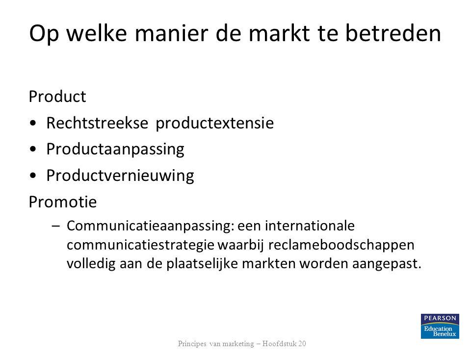 Op welke manier de markt te betreden Product Rechtstreekse productextensie Productaanpassing Productvernieuwing Promotie –Communicatieaanpassing: een