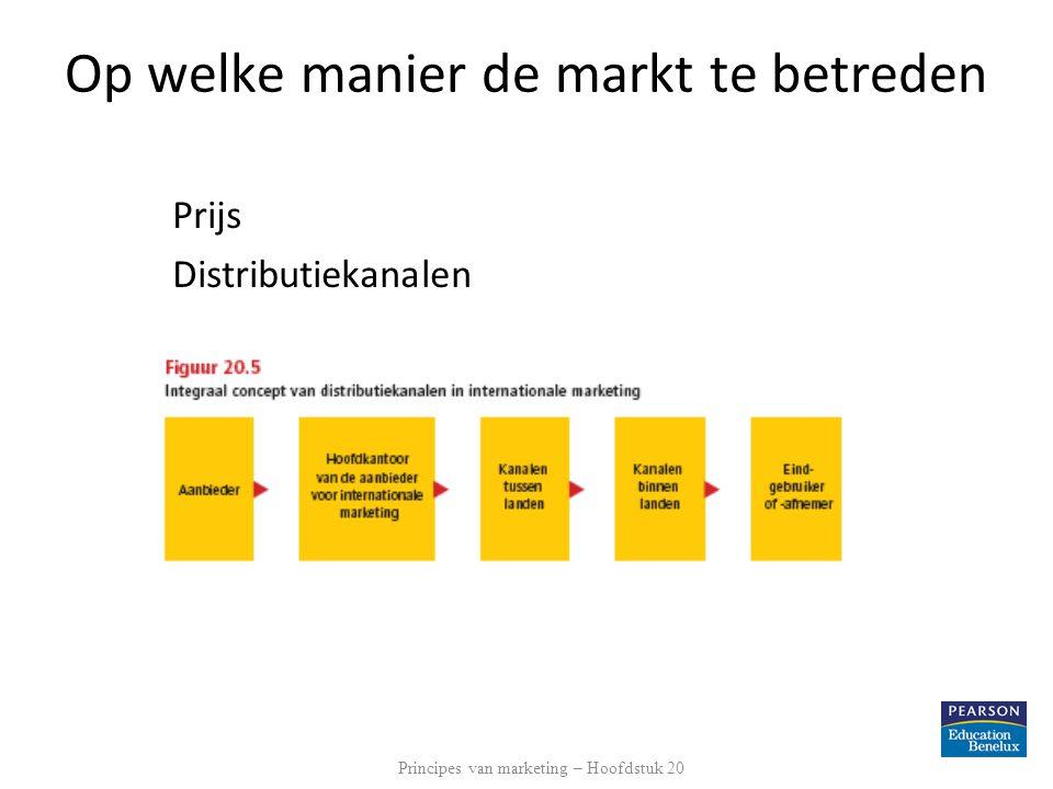 Op welke manier de markt te betreden Prijs Distributiekanalen Principes van marketing – Hoofdstuk 20