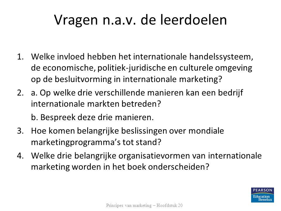 Vragen n.a.v. de leerdoelen 1.Welke invloed hebben het internationale handelssysteem, de economische, politiek-juridische en culturele omgeving op de