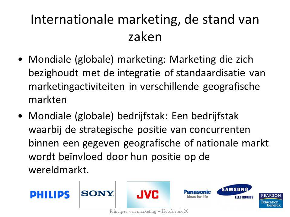 Internationale marketing, de stand van zaken Mondiaal bedrijf: Een bedrijf dat in meerdere landen actief is, waardoor het wat betreft R&D, productie, marketing en financiën een zekere voorsprong krijgt op concurrenten die zich tot de thuismarkt beperken.