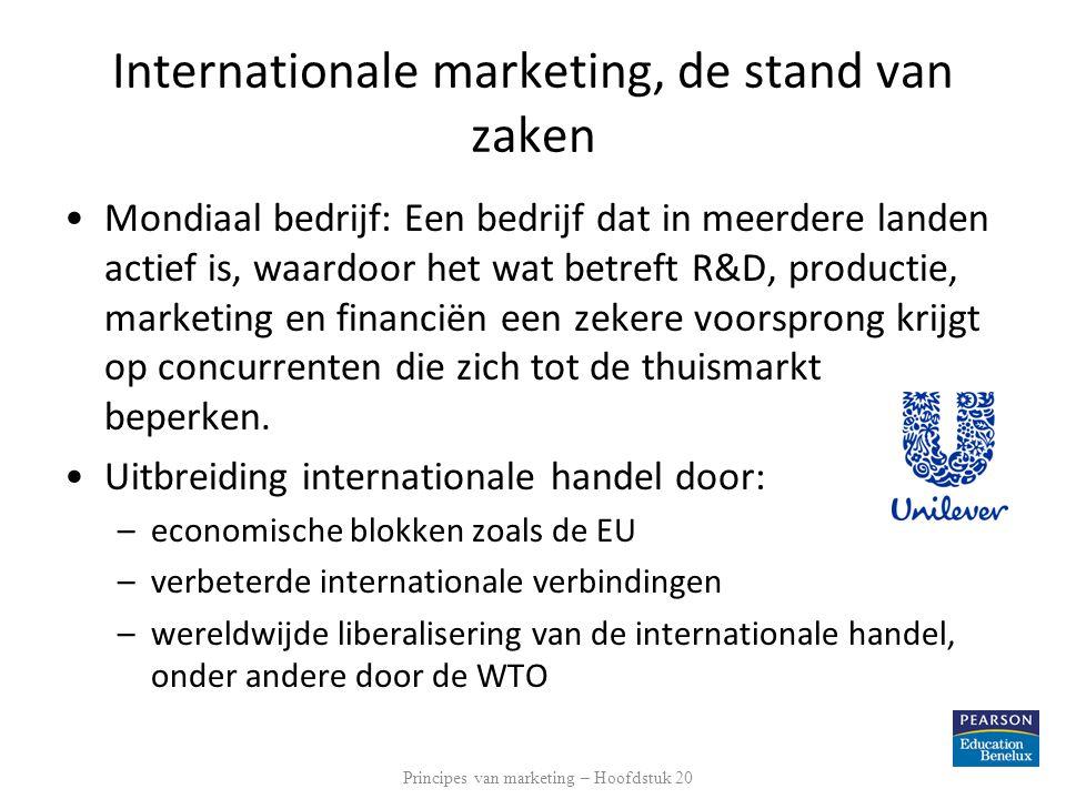 Internationale marketing, de stand van zaken Mondiaal bedrijf: Een bedrijf dat in meerdere landen actief is, waardoor het wat betreft R&D, productie,
