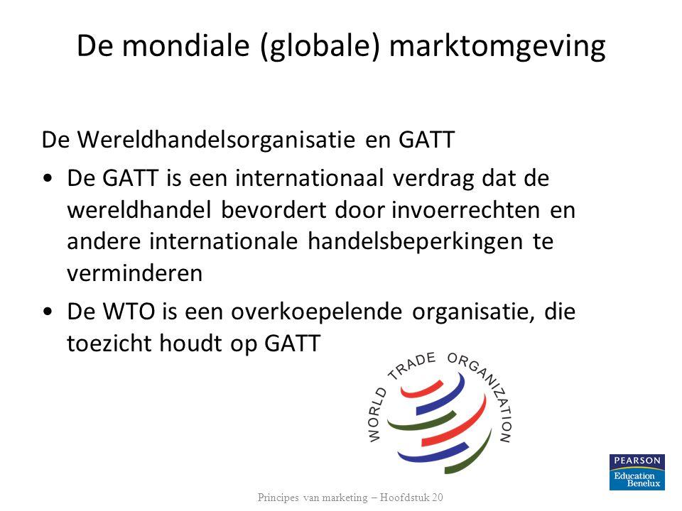 De mondiale (globale) marktomgeving De Wereldhandelsorganisatie en GATT De GATT is een internationaal verdrag dat de wereldhandel bevordert door invoe
