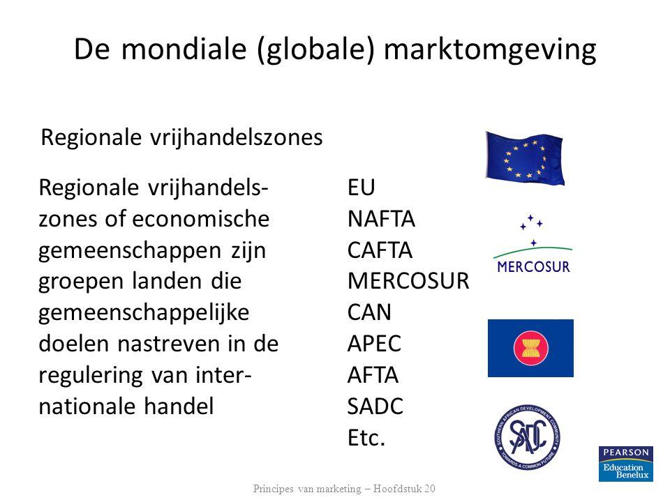 De mondiale (globale) marktomgeving Regionale vrijhandelszones Regionale vrijhandels- zones of economische gemeenschappen zijn groepen landen die geme