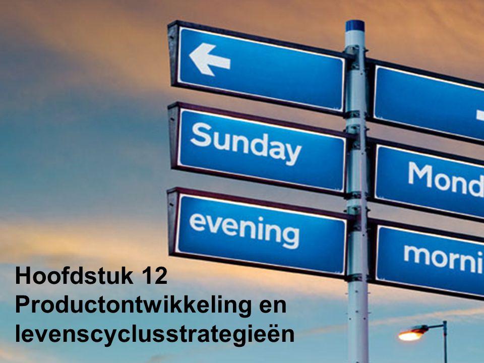 Productontwikkeling en levenscyclusstrategieën Deel 1Deel 2Deel 3 Deel 4 Product Deel 5Deel 6 Deel 7Deel 8Deel 9 Principes van marketing – Hoofdstuk 12