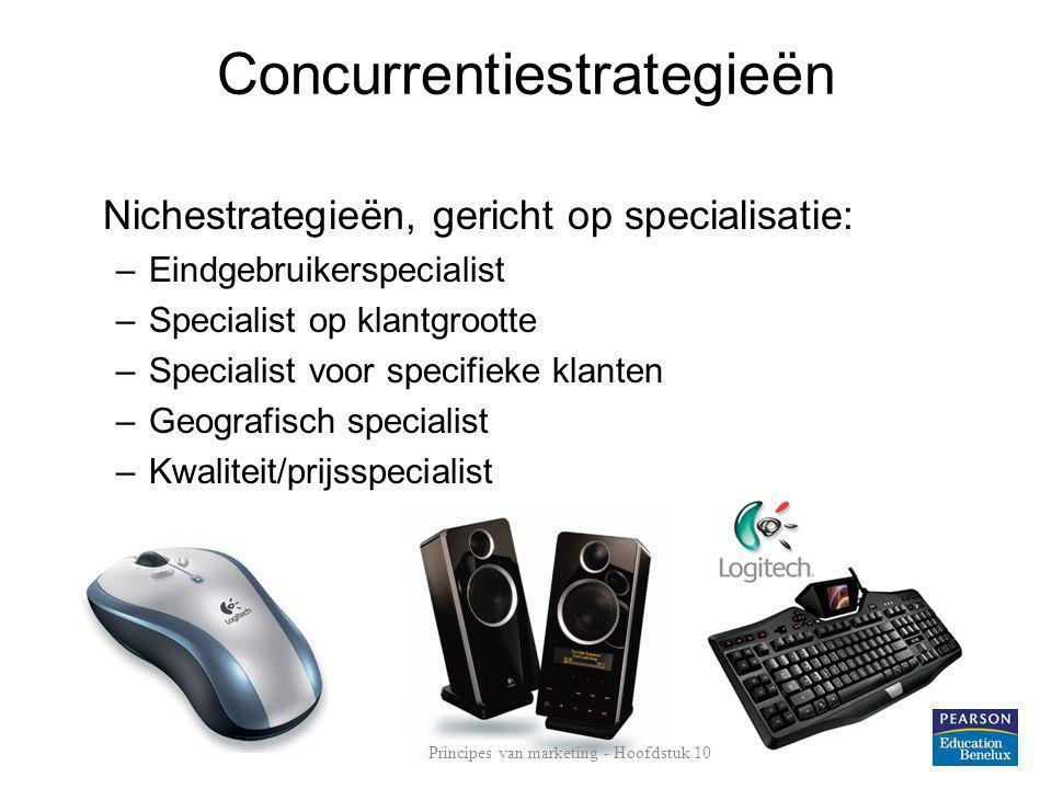 Concurrentiestrategieën Nichestrategieën, gericht op specialisatie: –Eindgebruikerspecialist –Specialist op klantgrootte –Specialist voor specifieke k