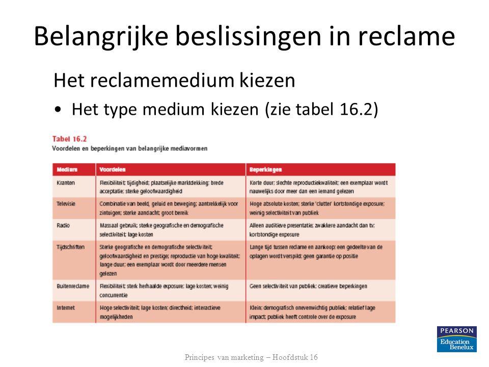 Belangrijke beslissingen in reclame Het reclamemedium kiezen Het type medium kiezen (zie tabel 16.2) Principes van marketing – Hoofdstuk 16