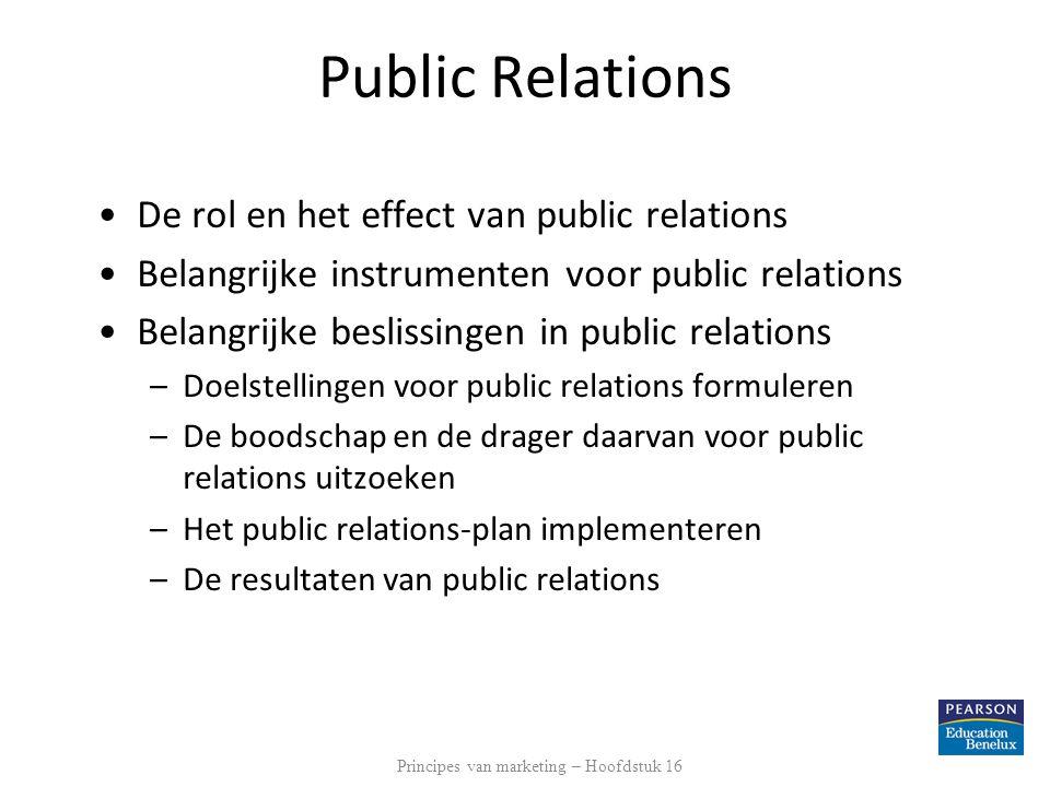 Public Relations De rol en het effect van public relations Belangrijke instrumenten voor public relations Belangrijke beslissingen in public relations