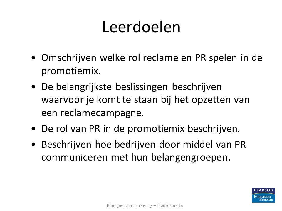 Leerdoelen Omschrijven welke rol reclame en PR spelen in de promotiemix. De belangrijkste beslissingen beschrijven waarvoor je komt te staan bij het o
