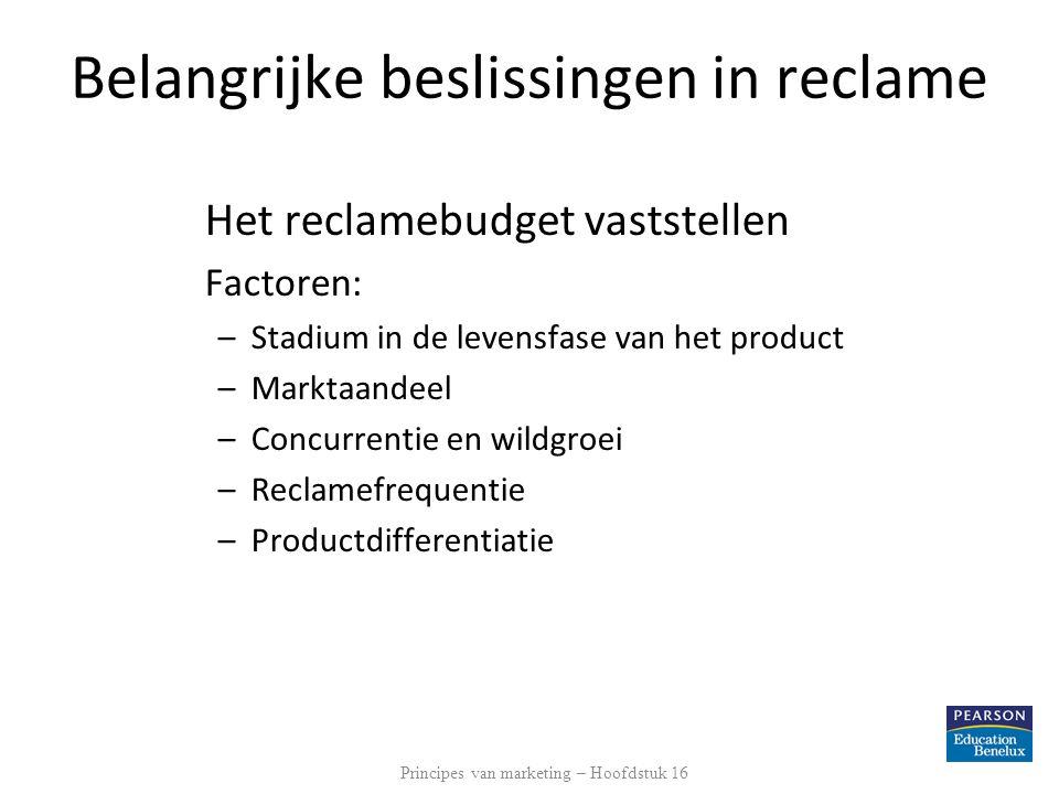 Belangrijke beslissingen in reclame Het reclamebudget vaststellen Factoren: –Stadium in de levensfase van het product –Marktaandeel –Concurrentie en w