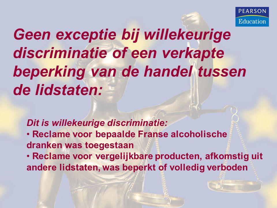 Geen exceptie bij willekeurige discriminatie of een verkapte beperking van de handel tussen de lidstaten: Dit is willekeurige discriminatie: Reclame voor bepaalde Franse alcoholische dranken was toegestaan Reclame voor vergelijkbare producten, afkomstig uit andere lidstaten, was beperkt of volledig verboden