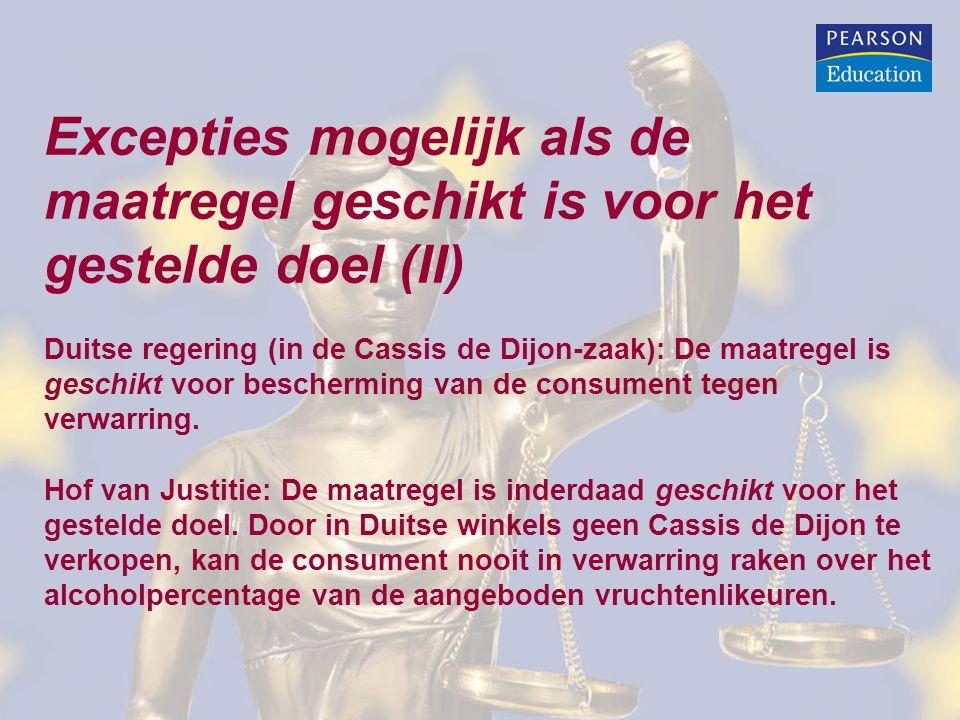 Excepties mogelijk als de maatregel geschikt is voor het gestelde doel (II) Duitse regering (in de Cassis de Dijon-zaak): De maatregel is geschikt voor bescherming van de consument tegen verwarring.