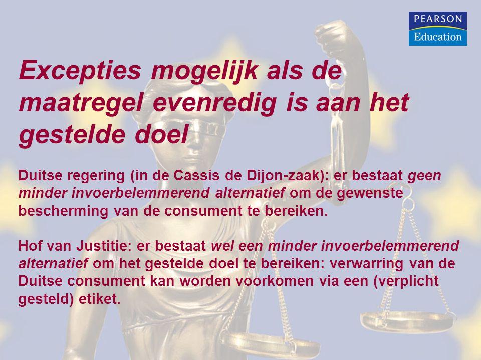 Excepties mogelijk als de maatregel evenredig is aan het gestelde doel Duitse regering (in de Cassis de Dijon-zaak): er bestaat geen minder invoerbelemmerend alternatief om de gewenste bescherming van de consument te bereiken.
