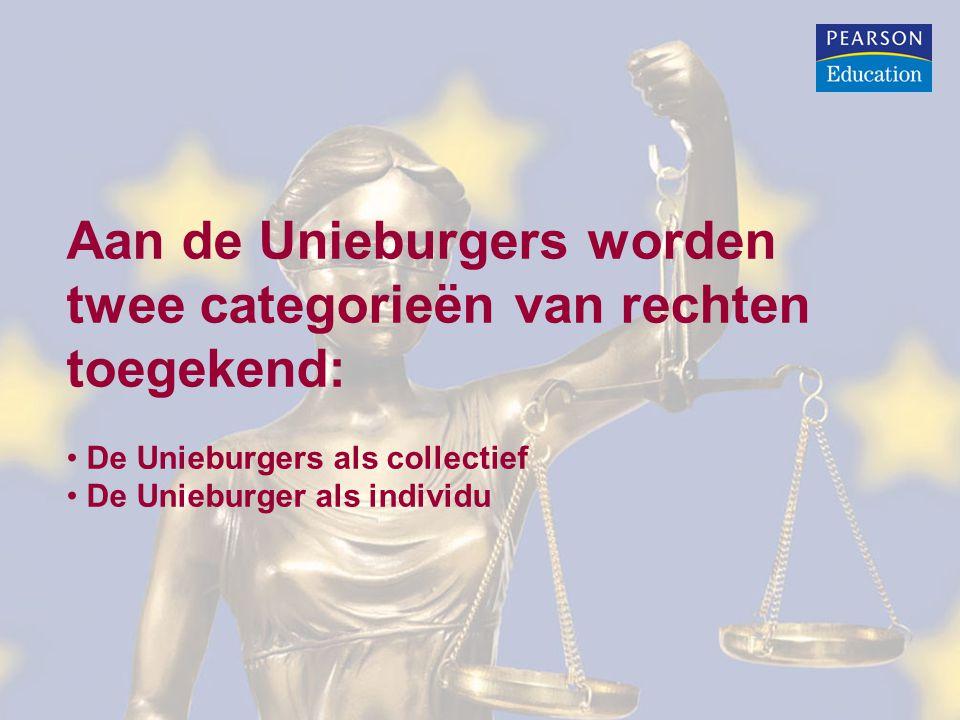 Aan de Unieburgers worden twee categorieën van rechten toegekend: De Unieburgers als collectief De Unieburger als individu