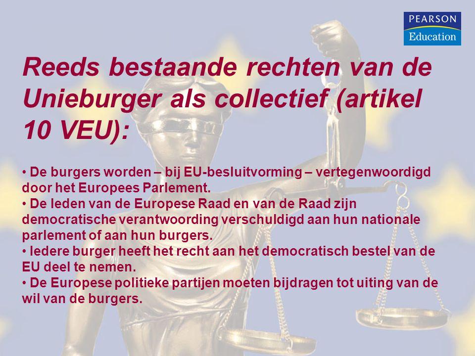 Reeds bestaande rechten van de Unieburger als collectief (artikel 10 VEU): De burgers worden – bij EU-besluitvorming – vertegenwoordigd door het Europ