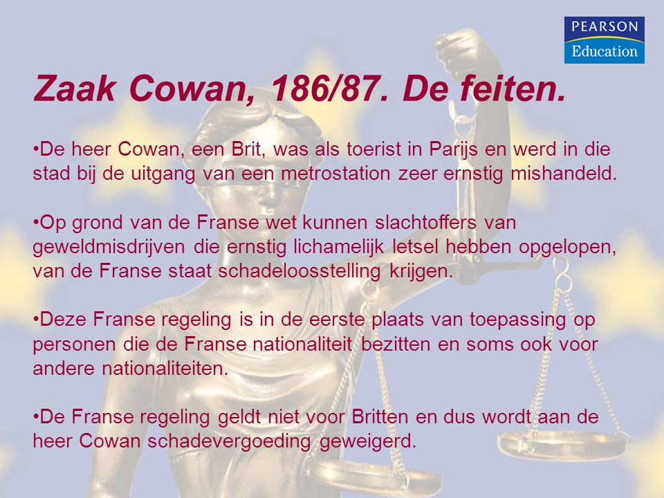 Zaak Cowan, 186/87. De feiten. De heer Cowan, een Brit, was als toerist in Parijs en werd in die stad bij de uitgang van een metrostation zeer ernstig