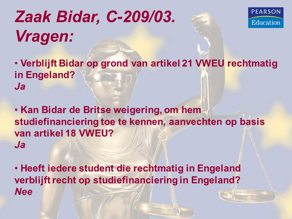 Zaak Bidar, C-209/03. Vragen: Verblijft Bidar op grond van artikel 21 VWEU rechtmatig in Engeland? Ja Kan Bidar de Britse weigering, om hem studiefina