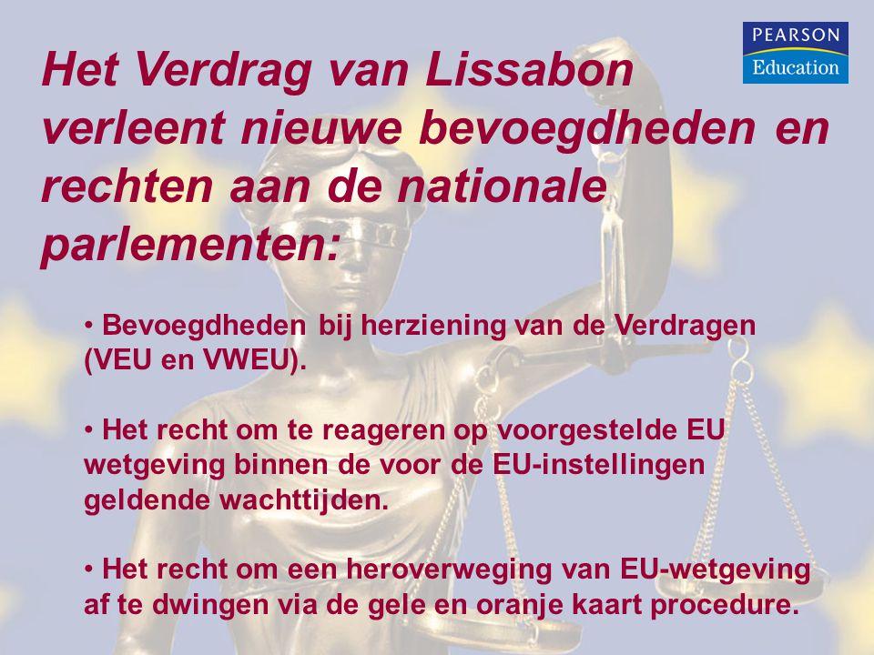 Het Verdrag van Lissabon verleent nieuwe bevoegdheden en rechten aan de nationale parlementen: Bevoegdheden bij herziening van de Verdragen (VEU en VWEU).