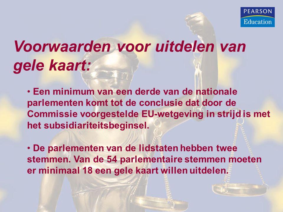 Voorwaarden voor uitdelen van gele kaart: Een minimum van een derde van de nationale parlementen komt tot de conclusie dat door de Commissie voorgestelde EU-wetgeving in strijd is met het subsidiariteitsbeginsel.